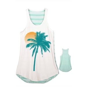 Tops - Palm Tree Sunset Summer Striped Tank Top